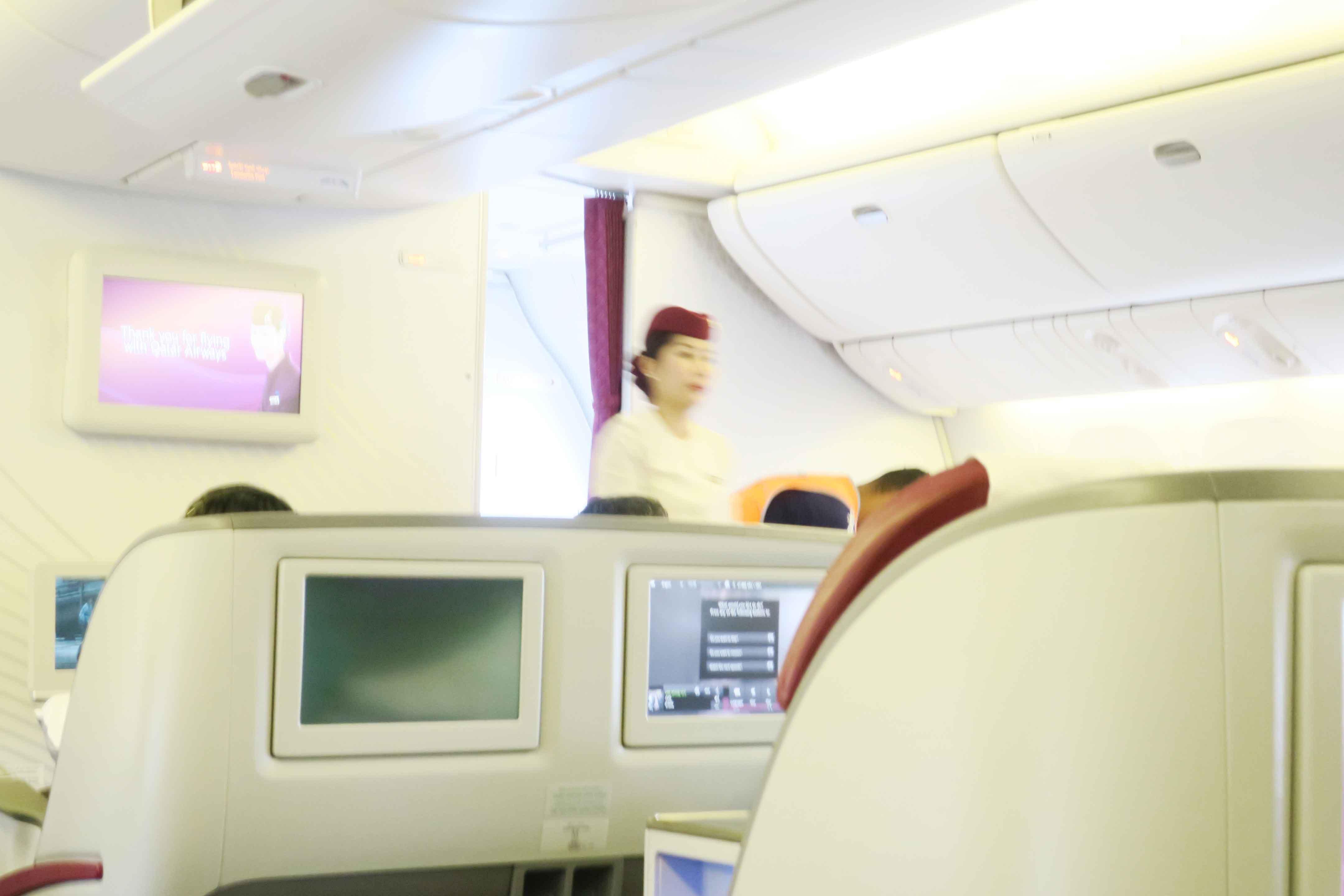 カタール航空機の内部